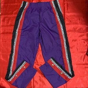 LF the Brand purple track pant with red and white